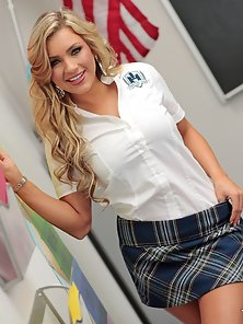Sexy busty blonde Cameron Dee in adorable cute schoolgirl uniform gets her hands on cock after schoo