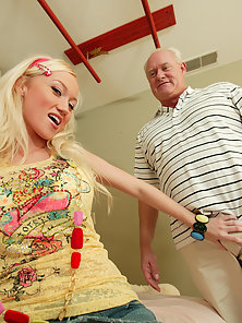 This girl gets old over this old dudes cock and balls