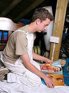 teen dude jack while looking on gay nude magazine