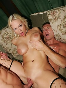 A busy blonde in stockings gets two timed