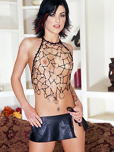 Brunette Teen With Tattoos Strips