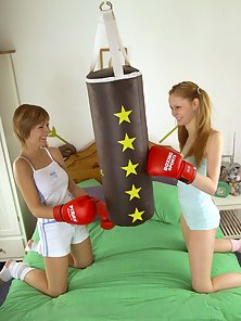 Two big boobed lesbian cuties having a dirty boxing match
