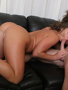 Hot mama leans on the arm rest for the cock entry.