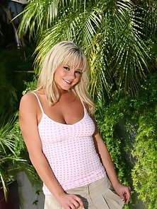 Bree Olson looks sweet and sexy in a little skirt