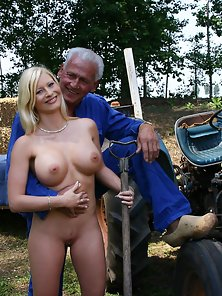 Busty blonde beauty enjoys his stiff older cock inside her
