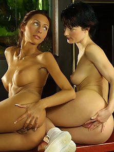 Brunette sluts enjoying breast and body foreplay