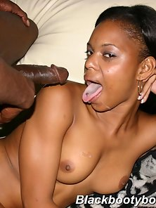 Tiny tit bubble butt black slut gets fucked and a warm gooey facial
