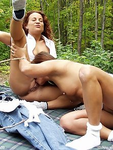 Peeping Tom fucks two girls in the woods