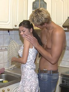 Amazing Brunette Katya and Her Neighbor Have Anal Sex in Her Kitchen