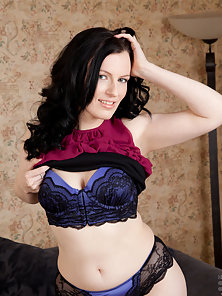 Lovely mom strips down to her sexy lingerie