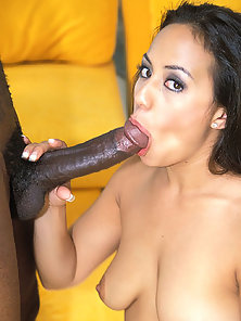 White female sucking and fucking a long black dick