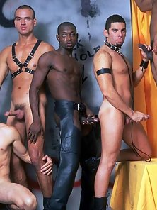 The glory hole heats up as these five studs get into an interracial all gay orgy.