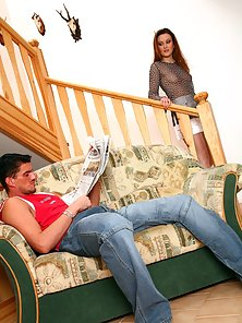 Brunette girl gets her ass stretched wide with a big cock