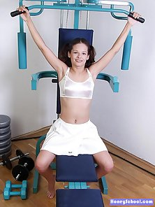 Cute teen working out and her small tits are super perky