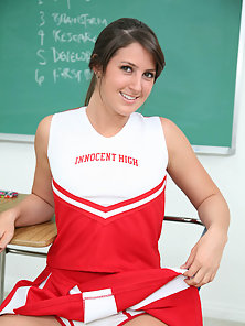 Beautiful brunette cheerleader sucks her teachers cock for an A