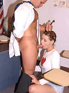Innocent looking pigtailed schoolgirl gets her hole filled with a huge teacher's dick.