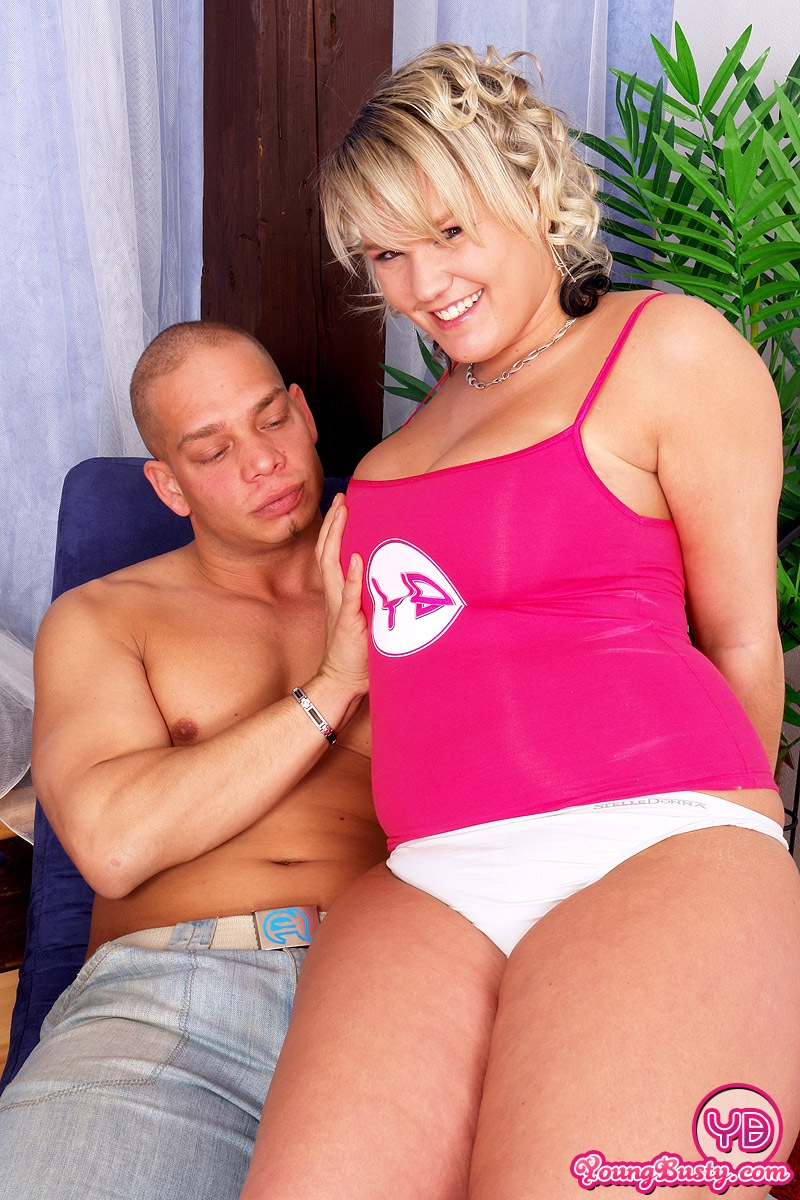 Solo Busty Blonde Rides Dildo