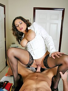 Big titted office secretary gets her tight pussy ripped hard