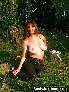 The forest is just ripe for sexy Vanessa and her huge tits