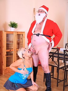 Santa fucks a tight blonde teen girl