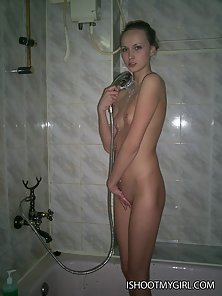 Watch our innocent nude beauty in the bathroom doing passionate blowjob to her sex-crazed banger.
