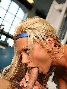 Tall blonde babe seduces her aerobics instructor and chokes on his cock