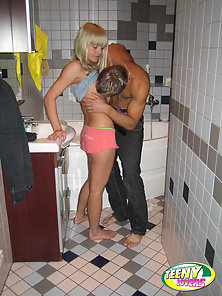 Pal gets dick sucked and bangs his girlfriend in bathroom.
