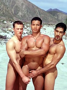 3 horny latino studs, two take turns fucking their friend