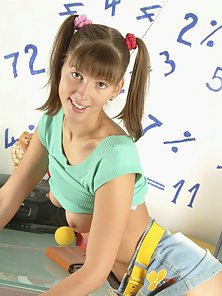 Pigtail Teen In Micro Skirt