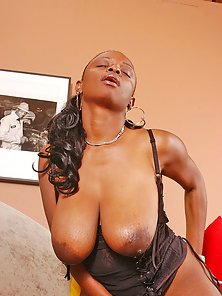 Big titted chocolate girl gets her huge tits ripped