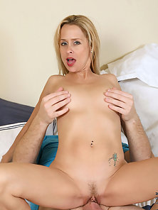 Horny blue eyed milf devours cock with mouth before riding it like a champion