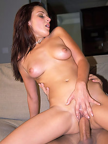 Gorgeous brunette women lays down while she is being fucked