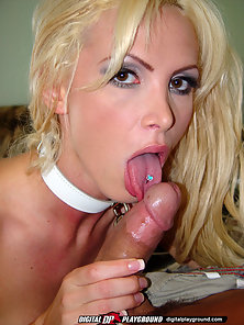 Blonde bombshell Nikki Benz gives a killer blowjob before hopping on top and then taking it doggy-st
