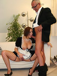 British old gentleman humping the big titted maid