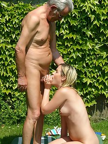 Beauty and senior going real wild with eachother outdoor