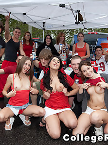 These horny girls love some dick during this tailgate
