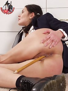 Pics with depraved coed stripping her panties to fuck her pussy with a big pencil