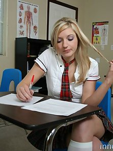 Naughty blonde teenie bopper has her sweet ass cracked and filled with her teachers rod
