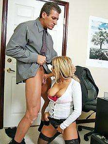 Busty office slut Carmel Moore gets pounded on her desk