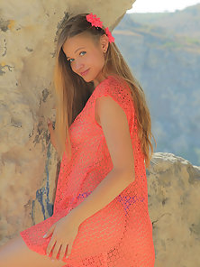 Gorgeous Teen Embraces Reveals Her Attractive Unclad Body at Outdoor