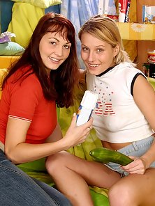 Two curvy lesbian teenage friends playing cute sex games