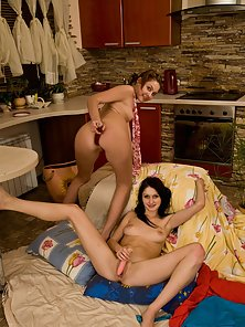Hot teen girls playing with toys and each other
