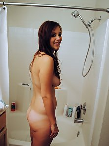 Adorable brunette girlfriend gets filmed taking a shower my her horny boyfriend