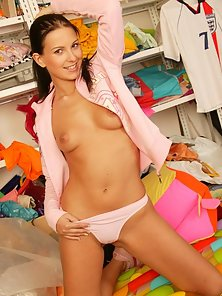 Mili Jay strips in the closet