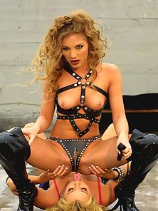 Brittney Skye being controlled by a bondage babe