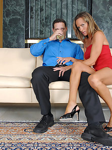 Long legged brunette cougar receives a serious pussy ramming from a horny stud on the couch