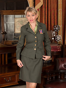 Horny military mom reveals what is under her uniform