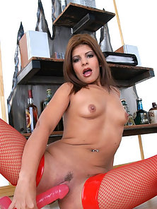 Hot women in red stockings licking sucking and inserting a toy
