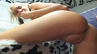 Blonde Cheerleader is given some Ice Cream and fucks inside the truck
