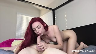 Skinny Red Haired Chick Rides on Massive Cock Till Pleasure